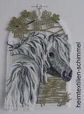 Plauener spitze Fensterbild Pferd Fensterdekoration Pferde Pferdekoppel Tiere