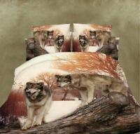Home Chic  3D Wolf Printting Bed Sheet Duvet Cover Sets Bedding King Size 4Pcs