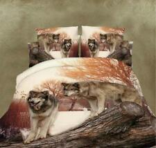 New 3D Wolf Printed Bed Sheet Bedclothes Duvet Cover Sets Bedding King Size 4Pcs