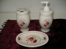EUC 3-Piece Waverly Vintage Rose  Ceramic Bath Accessories!
