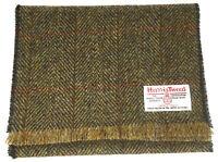 Traditional Harris Tweed Light Brown Herringbone Scarf