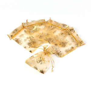 500 Bags Gold Christmas Style Golden Bell Drawstring Organza Gift Bags 10x12cm