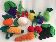 11 Crochet Fruits & Vegetables Toy Kitchen crocheted Cherries Grapes Corn Carrot