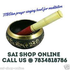 Tibetan Buddhist SINGING BOWL for Meditation Prayer Black & Golden finish.