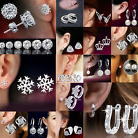 925 Silver Crystal Rhinestone Stud Earrings Wedding Jewelry Womens Gift Xmas