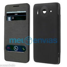 Funda Flip Cover con Ventana Color NEGRO para Orange Daytona Huawei Ascend G510
