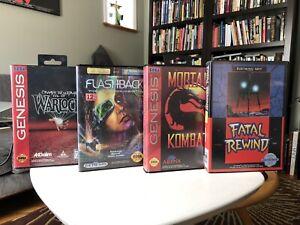 Sega Genesis lot of 4 boxed games Flashback Mortal Kombat All Tested