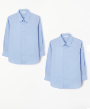 John Lewis, Girls Long Sleeve Blue School Blouse, Age 10, Pack of 2, Non-Iron