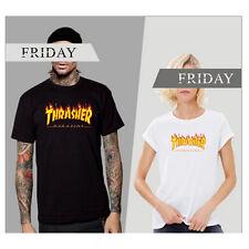 White Men Women Short Sleeve Crew Neck Pullover Thrasher Hoodie Punk T-shirt XL