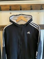 Vintage Mens Adidas Black and White Mens Hoodie Striped Embroidered Logo Size L
