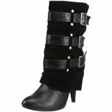 New Dollhouse Black Faux Leather/Suede Black Buckle Up Slouch Booties Size US 7M