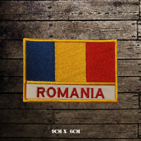 ROMANIA Flag With Name Embroidered Iron On Sew On Patch Badge For Clothes Etc