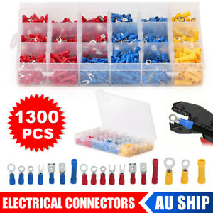 1300Pcs Crimp Terminals Electrical Wire Connectors Kit Assorted Insulated Spades