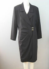 BRAEMAR by Michelle Monet Size 10 Black 100% Wool Long Sleeves Wrap Dress