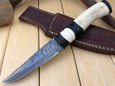 "HUNTEX Custom Handmade Damascus Steel 9"" Long Full Tang Bush Craft Hunting Knife"