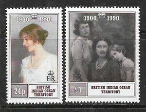 BRITISH INDIAN OCEAN TERRITORY Sc 106-107 NH ISSUE OF 1990 - QUEEN MOTHER