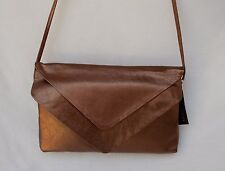 New Women's Ohh Ashley Genuine Leather Ohh Ashley Double Flap Clutch Bronze