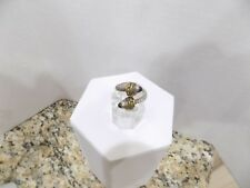 """Onyx Ring Sterling Silver Brass 6+ Vtg Signed """"925 Mexico Tt-20"""" Taxco Bypass"""