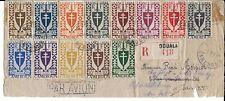 CAMEROUN 1945 ENVELOPPE 13 VALEURS FRANCE LIBRE SUR ENVELOPPE EN RECOMMANDÉE