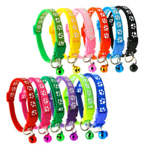 Dog Collar Adjustable Neck Bell Puppy Pet Paw Print Safety Nylon Buckle Release