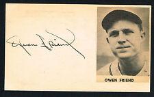 Owen Friend (d. 2007) signed autograph auto 3x5 index card Baseball Player H2871