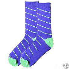 K.Bell Men's Pair Socks Purple Blue Aqua Teal Blue Stripe Mens Socks NWT
