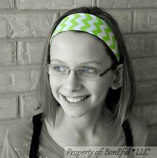 BonEful RTS NEW Boutique Girl Green Lime White Chevron Stripe Fabric Lg Headband