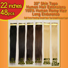 22 inches Skin Tape Russian Remy Hair Extensions 48 pcs 8A QUALITY LAST LONGER