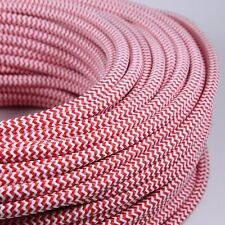 Cable Electrique Chevron Rouge Blanc Textile Tissu Rond Normes CE 2*0,75mm Deco