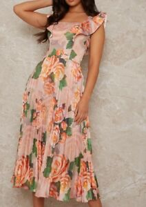 Chi Chi Posie Dress Orange/Pink Size UK 12 *REF181