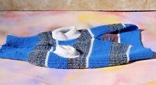 Knitted Turtleneck Dog Pet Sweater Coat Jacket, Blue Gray White, S / M