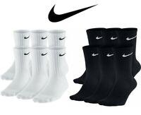 Nike Dri-Fit Cotton Cushioned Crew Socks 1, 3 OR 6 PAIRS WHITE, BLACK  M. L. XL