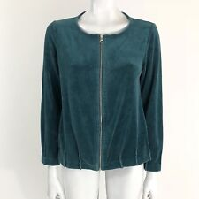 Soma Intimates Green Soft Velour Women's Small Zip Up Jacket