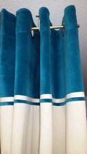 Rideau Ywama oeillets parement Bleu canard 140x260 pret à poser