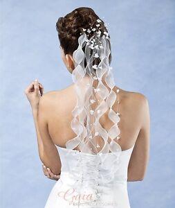Haarschmuck mit Satinbändern + Blüten Hochzeit Braut  Farbwahl weiss ivory creme