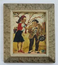 1957 O/C Pulp Art Painting Thankful Beggar, Signed
