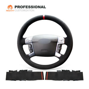 Black Suede Car Steering Wheel Cover Wrap for Ford Mondeo MK4 S-Max 2008