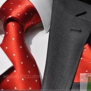 ITALIAN DESIGNER Milano Exclusive RED / WHITE POLKA DOT SILK TIE & HANKY