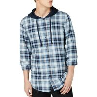 AMERICAN RAG CIE NEW Men's Blue Combo Plaid Hooded Button-Front Shirt XXL TEDO
