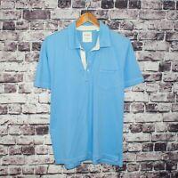 BILLY REID Men's Short Sleeve Polo Shirt Blue Cotton Size Large