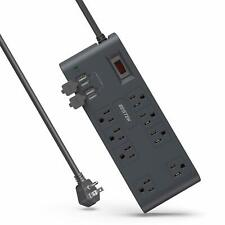 BESTEK 8-Outlet Surge Protector Power Strip with 4 USB Charging Ports and 12ft