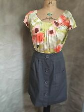 Anthropologie Watercolor SILK Dress 6 Floral Bodice Canvas Skirt Casual TABITHA