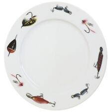 DECORATIVE WHITE COLLECTORS PLATE WITH FISH-ING ANGLING THEME IMAGES