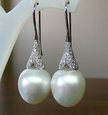 15.4mm!! SOUTH SEA PEARLS UNTREATED +DIAMONDS +18ct SOLID W GOLD EARRINGS +CERT