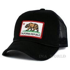 California Republic hat Foam Mesh Trucker CA Flag Snapback Baseball cap- Black