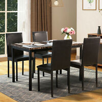5-Piece Faux Marble Tabletop PU Leather Chair Dining Set Kitchen Furniture Black