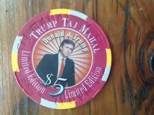 TRUMP TAJ MAHAL CASINO $5 CHIP DONALD J. TRUMP RARE- LIMITED EDITION