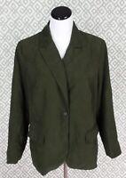 Coldwater Creek Long Sleeve Faux Suede Suit Jacket Green Blazer Plus Size 1X