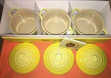 NIB Set of 3 LE CREUSET Mini Round Cocotte Petite Casserole 8oz Soleil Yellow