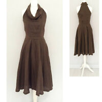 Zara XS Dress 8 Khaki Brown 100% LINEN Summer Midi Cowl Neck Formal Office Party